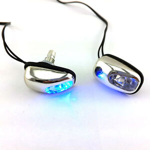1 Pair Blue Led Car Exterior Windshield Jet Spray Nozzle Wiper Washer Eye Lamp