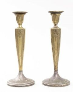 Pair Of Antique Evans Silverplate Candlestick Holders Classical Themed 10 Tall