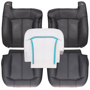 2000 2002 Chevy gmc Truck Full Row Leather Kit W Driver Bottom Foam Gray
