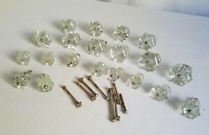 1920 S Vintage Clear Glass Knobs Door Cabinet Drawer Lot Of 20