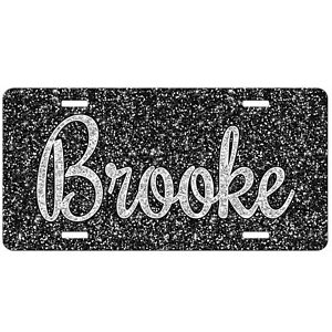 Black Glitter Like Personalized Monogrammed License Plate Car Tag Front Plate