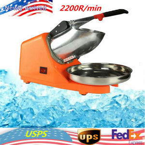 Electric Ice Crusher Shaver Commercial Machine Snow Cone Maker 2200r min Top