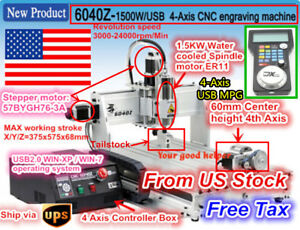 usa 4 Axis Usb 6040 1500w Diy Desktop Cnc Router Wood Engraving Milling Machine
