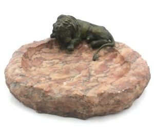 Vienna Bronze Antique Lion Figurine Statue On Alabaster Ashtray Bowl Art Nouveau