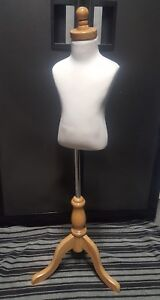 Creme Child 1 2 Years Old Fully Pinnable Mannequin Dress Form On Natural Tripod