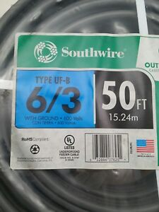 6 3 Uf b 50 Coil Stranded Wire W solid Gnd 50 coil Free Priority Shipping