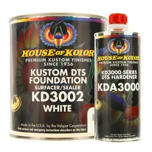 House Of Kolor Kd3002 G01 Kustom Dts Foundation White Surfacer Sealer Gallon Kit