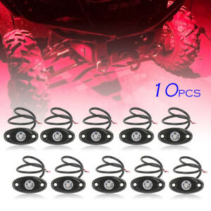 10pcs 9w Red Led Rock Light For Jeep Offroad Truck Under Body Trail Rig Lamp