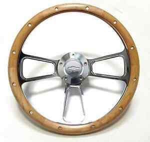 Hot Rod Street Rod Rat Rod Chevy 14 Billet Real Alderwood Steering Wheel