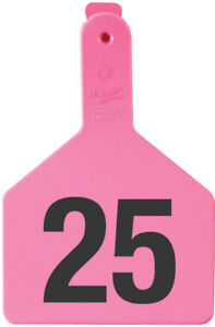 Z tags Cow Size Pink numbered 1 100 100 Tags