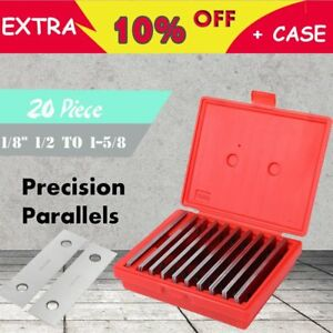 1 8 Thickness Precision Steel Parallel Set 10 Pairs set 0 0002 Case Mg