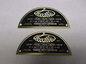 Woodlite Headlight Data Plate Set Of 2 Deep Acid Etched Brass 1920s 1930s