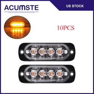 10x Amber 4 Led Car Truck Emergency Beacon Hazard Warning Flash Strobe Light 12w
