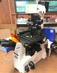 Nikon Eclipse Te2000 s Inverted Microscope Bundle Objectives Motorized Stage
