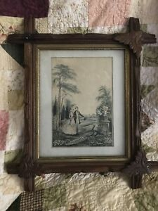 Antique Arts Crafts Adirondack Picture Frame With Print Mission Eastlake