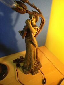 Vintage Signed Inspiration Par A J Scotto Bronze Statue Lamp Lady Playing