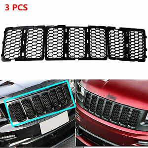 Black Mesh Grille Insert Kit Front Grill Cover For Jeep Grand Cherokee 2014 2016