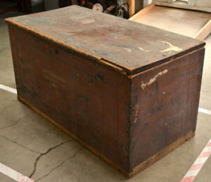 Antique Early American Wooden Trunk Chest Original Finish Old Repairs Needs Work