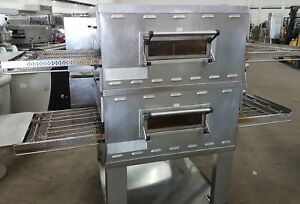 Middleby Marshall Ps536 Gs Double Deck Conveyor Gas Pizza Oven On Stand
