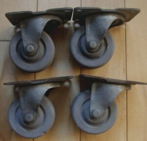 4 Vtg Cast Iron Bassick 361 3 Swivel Plate Industrial Casters