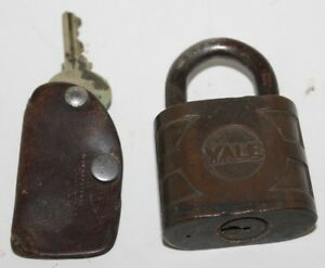 Vintage Brass Yale Towne Y T Pad Lock With Key Working