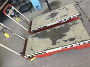 Two 2 Southworth Motorized Hydraulic Scissor Lift Tables W hand Cntrl 1100lbs