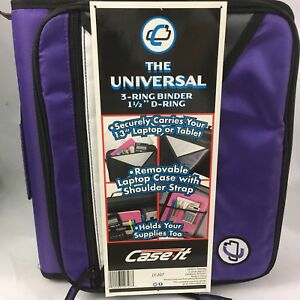 Case it Universal 1 1 2 Inch Zipper Binder Holds 13 Inch Laptop Purple Lt 207