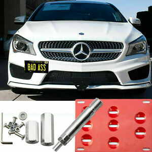 Red Tow Hook License Plate Bumper Mount Bracket For Mercedes Benz C S Ml Gla Cla