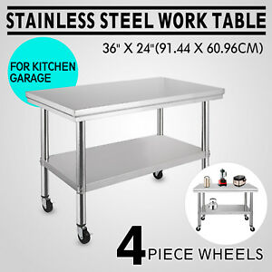 New Commercial 36 x24 stainless Steel Work Prep Table With 4 Wheels Kitchen