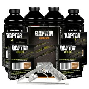 U Pol 821 4858 Light Brown 4l Raptor Spray On Truck Bed Liner Kit W Gun