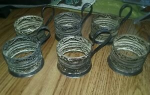 Vintage Russian Silver Hand Made Large Cup Holders Set Of 6 Pieces 2 X 2