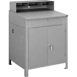 Shop Desk W Pigeonhole Compartments And Lower Cabinet 34 1 2 w X 30 d X