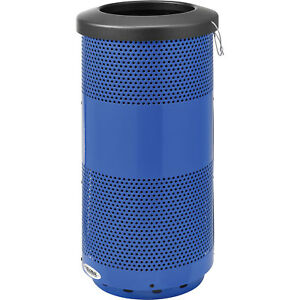 20 Gallon Perforated Steel Receptacle With Flat Lid Blue Lot Of 1