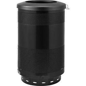 55 Gallon Perforated Steel Receptacle With Flat Lid Black Lot Of 1