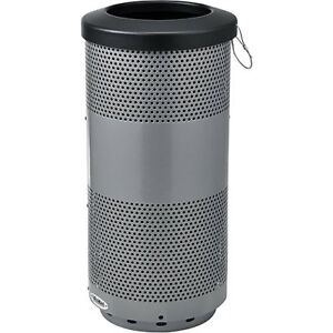 20 Gallon Perforated Steel Receptacle With Flat Lid Gray Lot Of 1