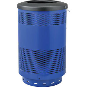 55 Gallon Perforated Steel Receptacle With Flat Lid Blue Lot Of 1