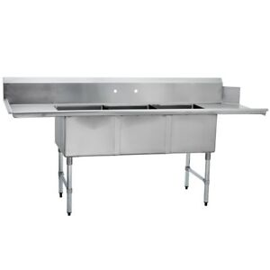 3 Three Compartment Commercial Stainless Steel Soiled Dish Table 30 X 90 G