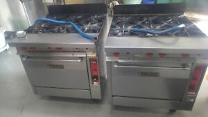 Two Vulcan Commercial 36 Six Burner Stoves Gas Ranges Natural Gas