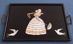 Vintage Art Deco Crinoline Lady Birds Foil Panel Picture Tray Tea Time