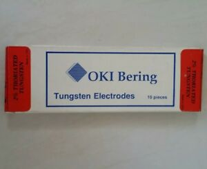 10 Pc Oki Bering 2 Thoriated Tungsten Electrodes Red 1 16 X 7 Tig Made In Usa