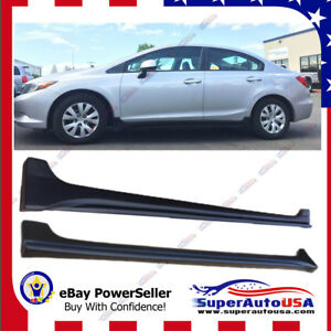 For 2012 2015 Honda Civic Sedan Unpainted Black Pp Mod Style Side Body Skirts
