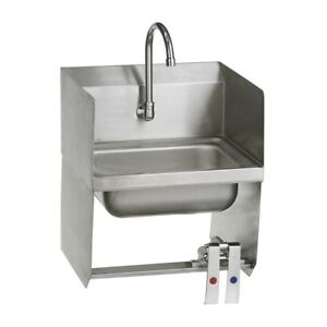 Stainless Steel Commercial Wall Mounted Hand Sink With Knee Valves 12 X 17