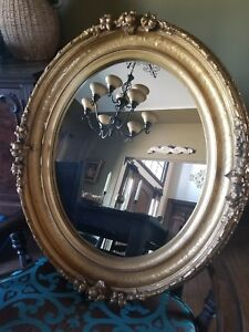 Bombay Antique Gold Gilt Oval Wall Mirror With Large Frame 29 X25
