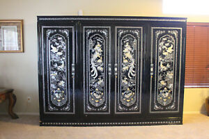 Vintage Mother Of Pearl And Black Lacquer Armoire Wardrobe Closet Made In Japan