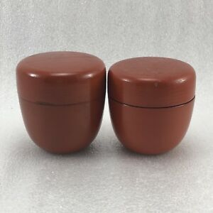 Z37 Lot Of 2 Japanese Lacquer Tea Caddy Container Tea Container Red Tea Caddy
