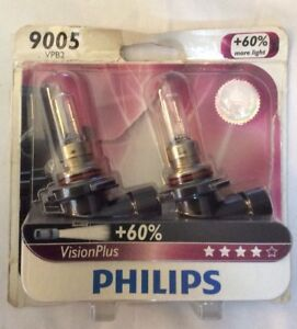 Philips 9005 Upgrade Vision 65w High Low Beam Bulbs 60 Super More Bright Light