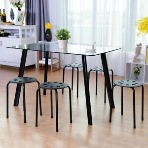 Set Of 5 Portable Stack Stools Plastic Round Top 17 Height Backless Black New