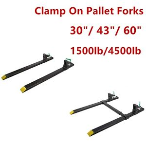 30 43 60 1500lb 4000lb Clamp On Pallet Forks Loader Bucket Skidsteer Tractor