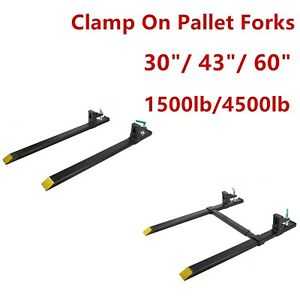 1500 4000lb Clamp On Pallet 30 43 Forks Loader Bucket Skidsteer Tractor Chain