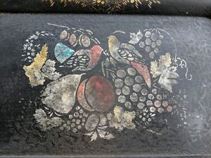 Antique Toleware Painted Tray American Birds Fruit Stencil